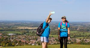 Alice and Victoria stop for a panoramic selfie at Whiteleaf Cross-min